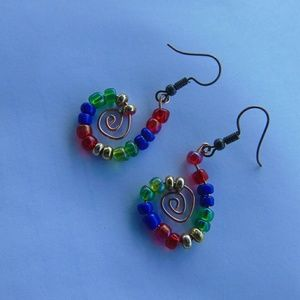 Jewelry - Spiral Hook Copper Beaded Earrings